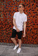 Мужской летний костюм прогулочный с белоя поло и стильными шортами черного цвета / Молодежная тениска + шорты
