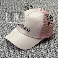 Детская 48-52 1-4 года стильная летняя кепка бейсболка для девочки с сеткой ушками Котик на лето 6083 Розовый