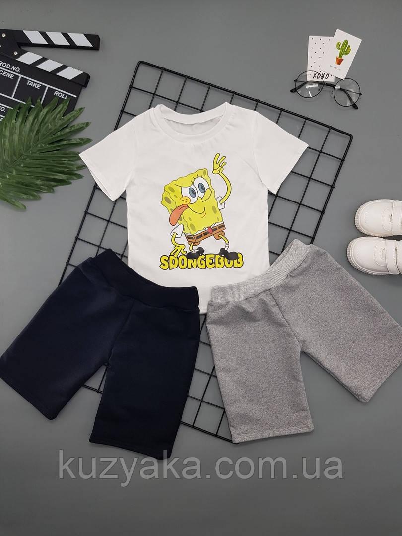 Детский летний костюм Губка Боб для мальчика на рост 86-128 см