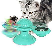 Игрушка для кошек Карусель с кошачьей мятой и светодиодным шариком на присоске (Бирюзовый)