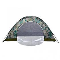 Палатка для кемпинга одноместная камуфляжная с антимоскитной сеткой на молнии