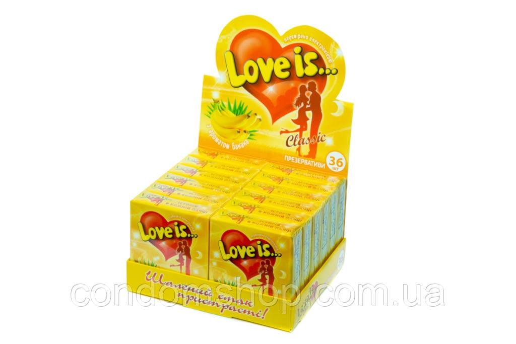 Презервативы эксклюзив Love is(Лав из)36 шт.Великобритания.БАНАН.