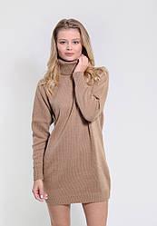 Теплое вязаное платье-туника