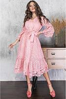 Женское платье из прошвы с кружевом ФЛАМИНГО, в расцветках (42-70) розовый