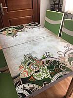 """Раскладной обеденный кухонный комплект стол и стулья с 3D рисунком """"Зеленый узор"""" ДСП стекло 70*110 Лотос-М 3д"""