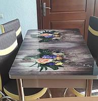 """Раскладной обеденный кухонный комплект стол и стулья с 3D рисунком """"Два букета"""" ДСП стекло 70*110 Лотос-М 3д, фото 1"""