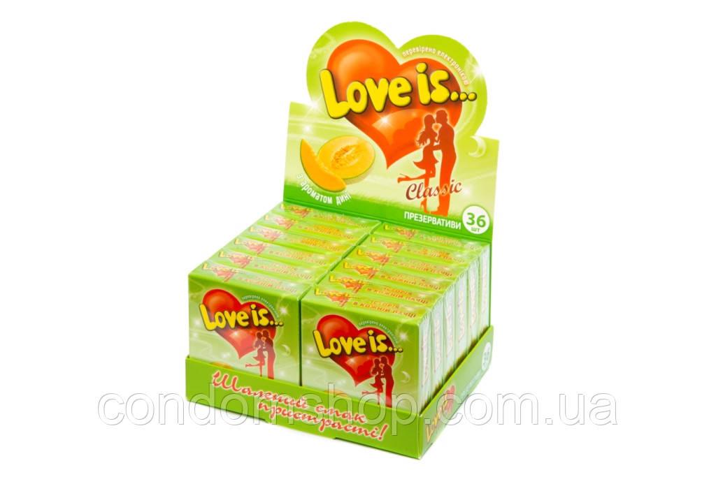 Презервативи ексклюзив Love is(Лав з)36 шт. Великобританія.ДИНЯ