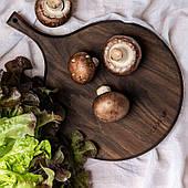 Кругла дерев'яна обробна дошка з ручкою, посуд сервіровки дошка для закусок (wds_0078)