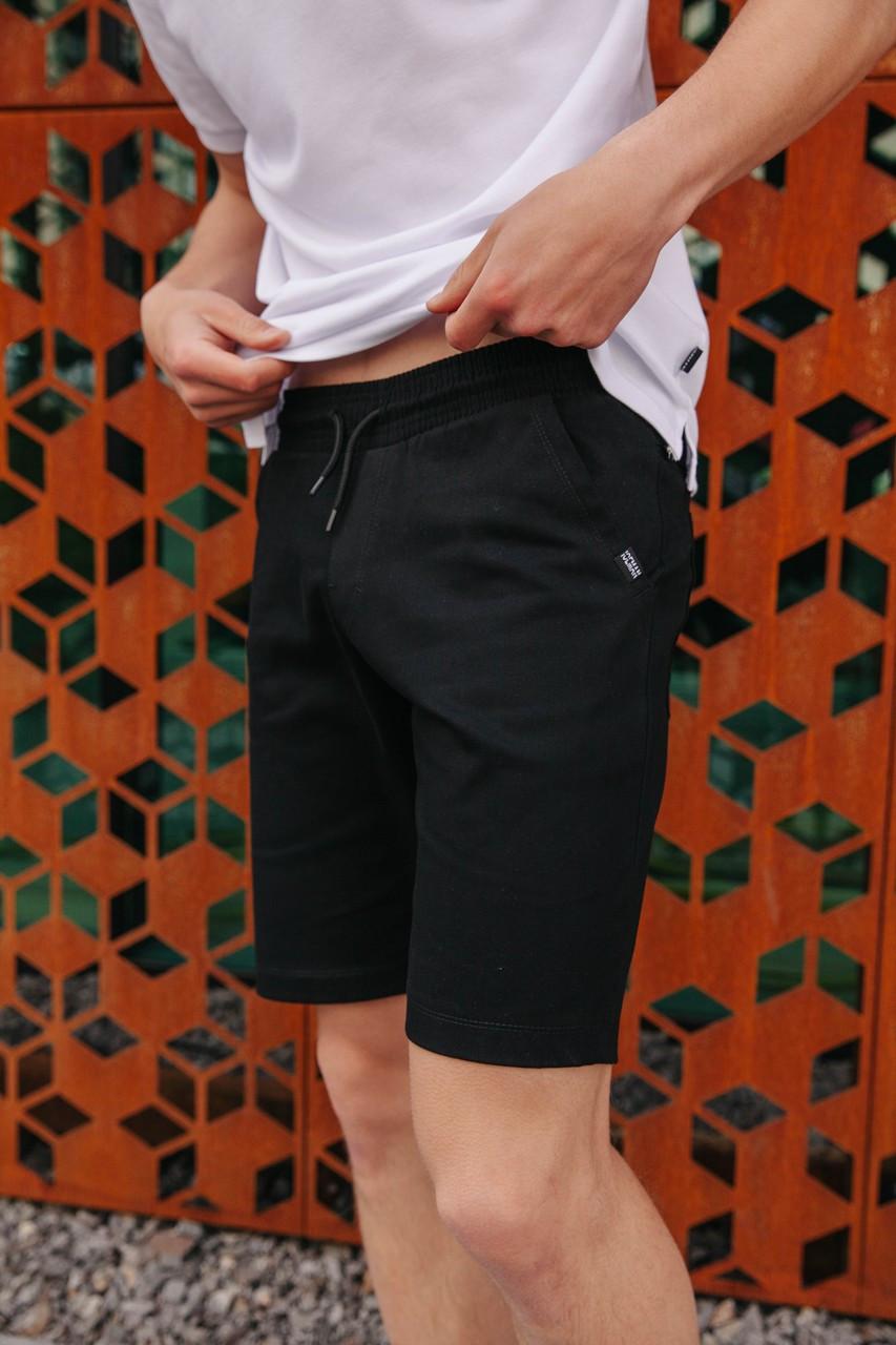 Чоловічі спортивні шорти зручні трикотажні стильні чорного кольору на гумці із зав'язками