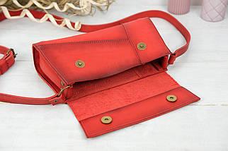Женская сумка Френки Вечерняя, Кожа Итальянский краст, цвет Красный, фото 3