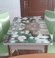 """Раскладной обеденный кухонный комплект стол и стулья с 3D рисунком """"Цветение на досках"""" ДСП стекло 70*110 3д"""