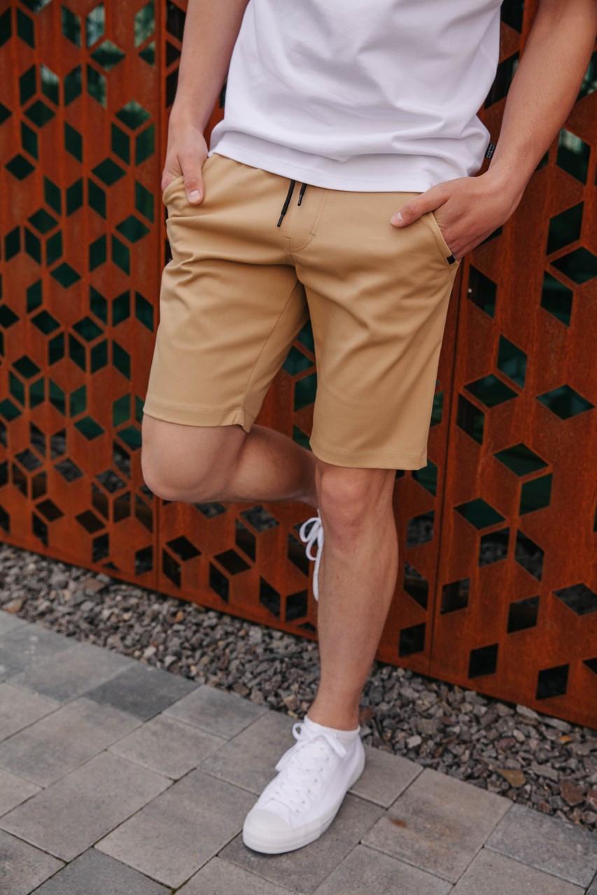 Мужские молодежные шорты до колена модные летние на резинке и завязках бежевого цвета
