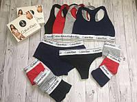 Набор женский Calvin Klein тройка 3 в1 ( стринги + топ + шорты) в подарочной упаковке реплика/ женские стринги
