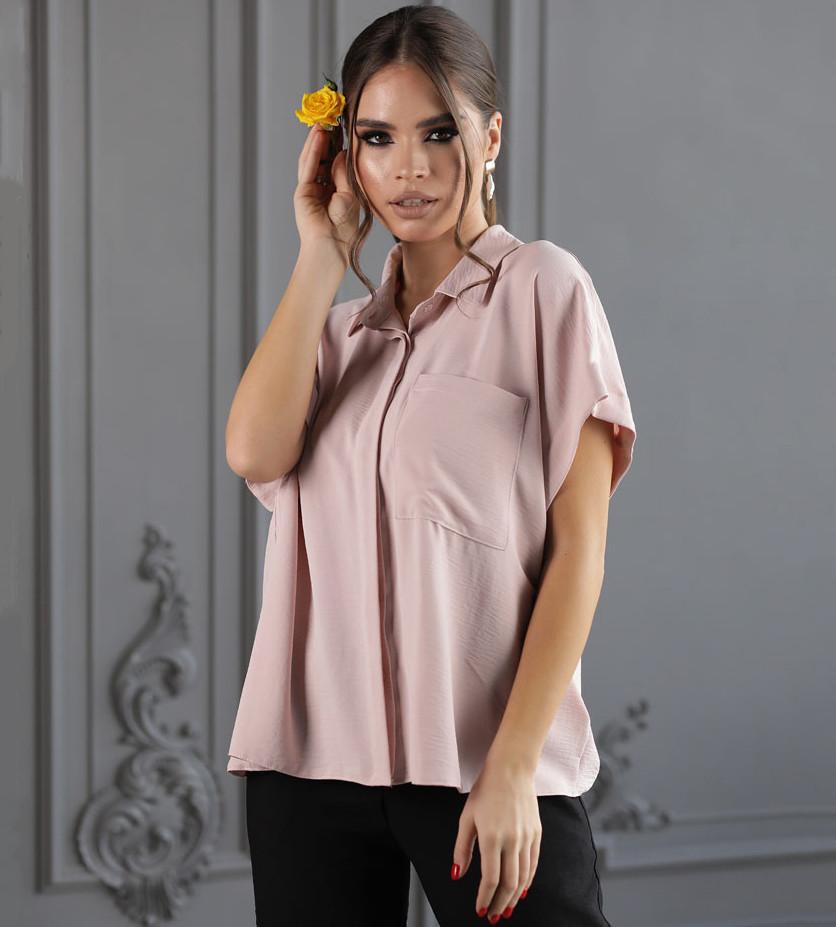 Летняя женская рубашка свободного кроя с карманом