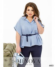 Асимметричная летняя рубашка голубого цвета оверсайз с потайными пуговицами, большие размеры от 48 до 58