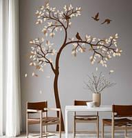 Наклейка на стену Высокое дерево с птичками (большие виниловые наклейки на обои деревья) матовая 1000x1400 мм