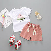 Детский костюм с шортами на лето для девочки 1 год - 4 года, размеры: 80, 90, 100, 110