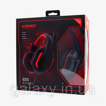 Навушники ігрові з мікрофоном підсвічуванням дротові KOMC G311