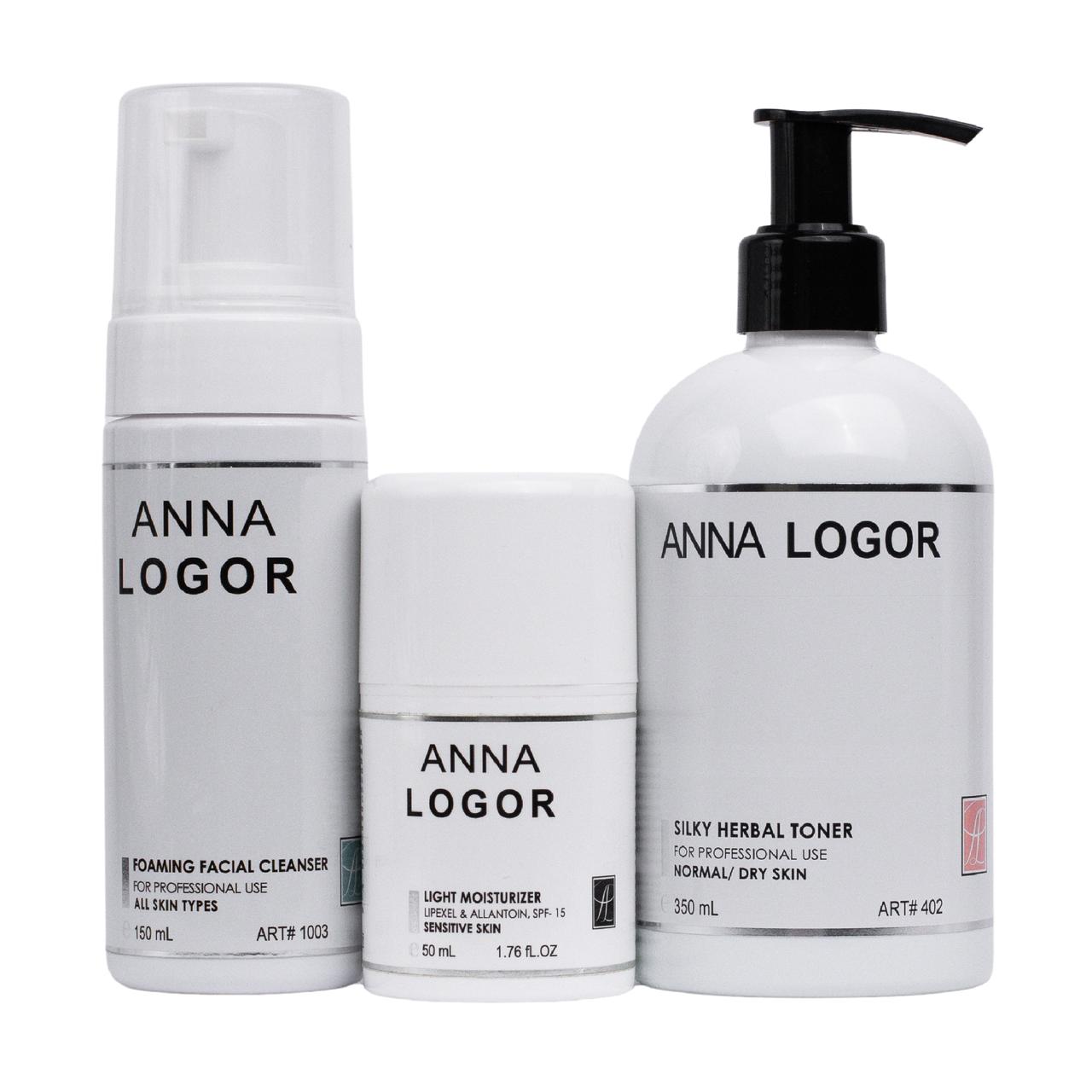 Набор косметики Anna LOGOR Silky Herbal Moisturizer Kit. Серия для чувствительной кожи лица