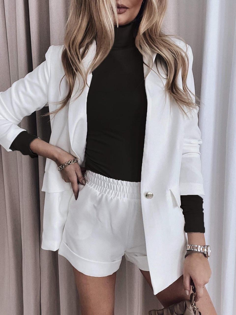 Ідеальний жіночий костюм трійка (шорти, боді, піджак), 00831 (Білий), Розмір 46 (L)