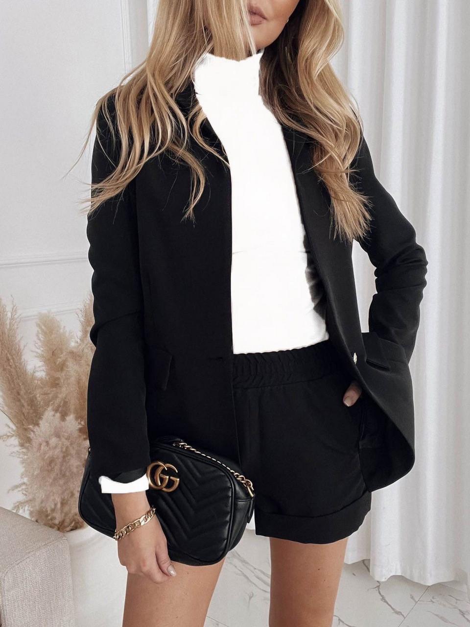 Классический женский костюм с шортами и пиджак, 00833 (Черный), Размер 46 (L)