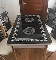 """Раскладной обеденный кухонный комплект стол и стулья с 3D рисунком """"Версаче черный"""" ДСП стекло 70*110 3д, фото 1"""