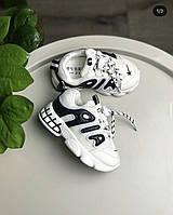 Кроссовки детские белые с черными буквами на шнурочках