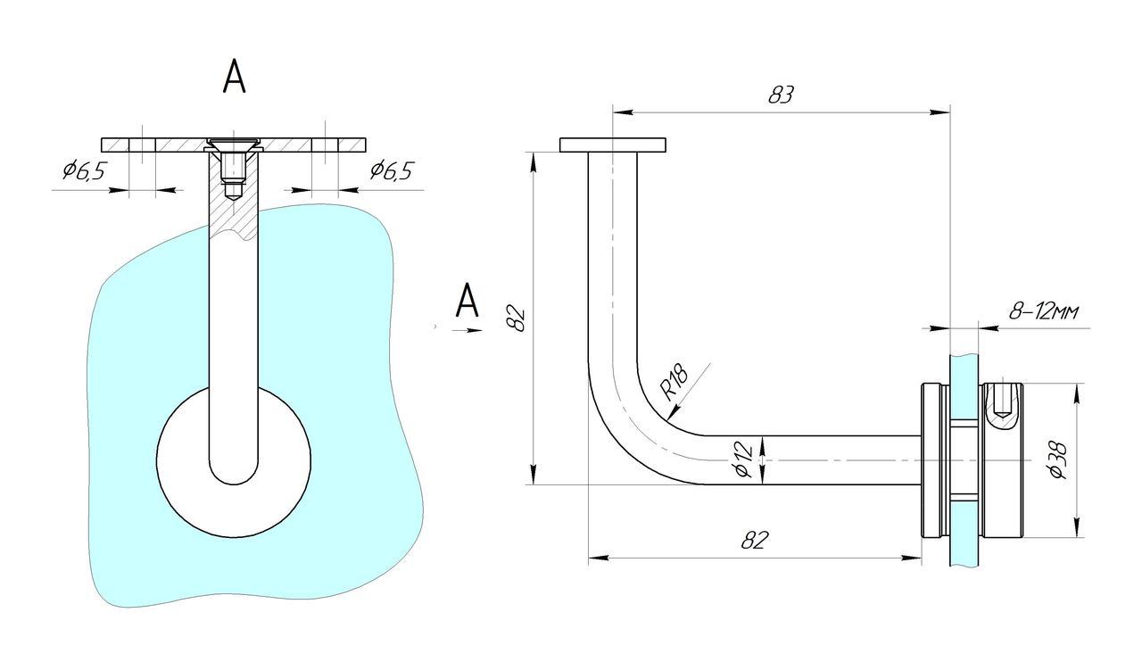 ODF-08-06-02  Крепление квадратного поручня к стеклу, полированное
