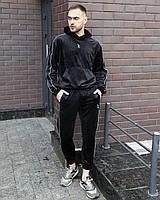Спортивный костюм унисекс Пушка Огонь Flat черный велюр, фото 1