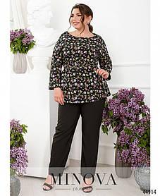 Очень красивый софтовый костюм черного цвета, блузка в цветочный принт, больших размеров от  50 до 64