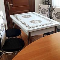"""Раскладной обеденный кухонный комплект стол и стулья с 3D рисунком """"Версаче белый"""" ДСП стекло 70*110 3д, фото 1"""