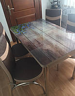 """Раскладной обеденный кухонный комплект стол и стулья с 3D рисунком """"Голубые цветочки"""" ДСП стекло 70*110 3д, фото 1"""