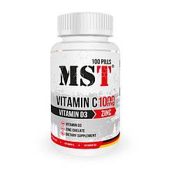 Комплекс витаминов MST Vitamin C 1000 mg + Vitamin D3 + Zinc 100 таблеток