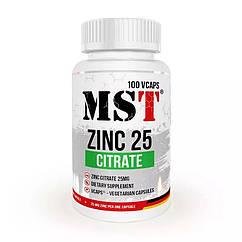 Цинк MST Zinc Citrate 25 mg 100 капсул