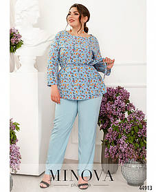 Женский костюм  летний голубого цвета в цветочек на поясе резинка, больших размеров от  50 до 64