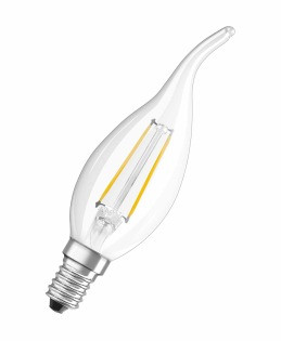 Лампа светодиодная OSRAM RFCLBA25 2W/827 230V FIL E14  филаментная свеча на ветру