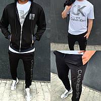 Мужской спортивный костюм тройка кофта на молнии футболка и спортивные брюки