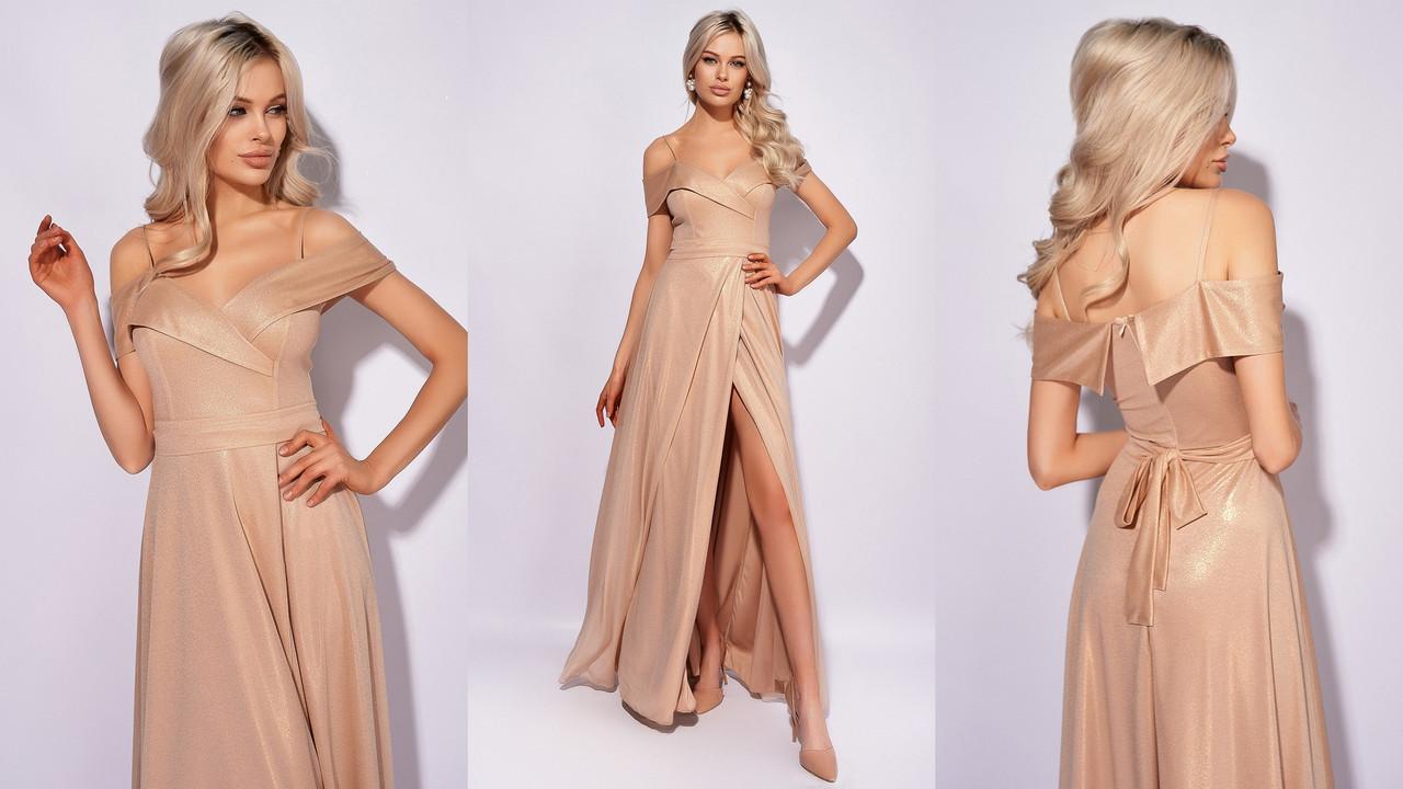 Шикарне нарядне жіноче плаття з блискучим напиленням, 00839 (Золотистий), Розмір 42 (S)