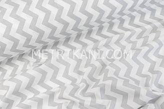 Клаптик. Польська бязь з сірим зигзагом 125г/м. 87*160 см