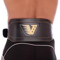 Пояс атлетический штангиста кожаный VELO Для тяжелой атлетики Пауэрлифтинга Черный (VL-8179), фото 1
