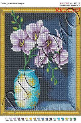 Схема для вышивки бисером  Орхидеи в вазе