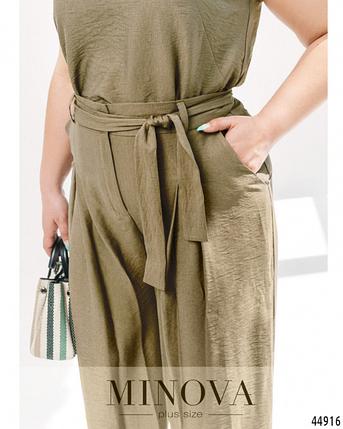 Летний льняной костюм брюки клеш батал Украина Размеры: 46-48. 50-52, фото 2