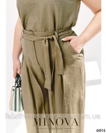 Річний лляний костюм штани кльош батал Україна Розміри: 46-48. 50-52, фото 2