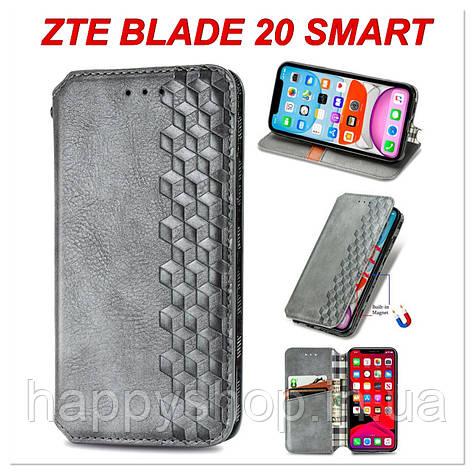 Чохол-книжка GETMAN Cubic для ZTE Blade 20 Smart (Сірий), фото 2