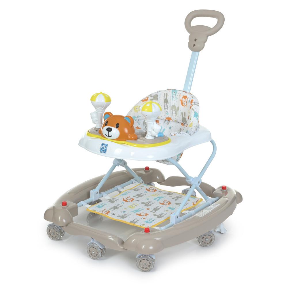 Ходунки детские Мишка BAMBI M 3656A-S-2 бежевый 3в1 с родительской ручкой и качалкой силиконовые колеса