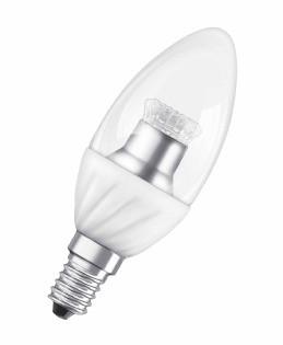 Лампа светодиодная OSRAM SCLB40 6,5W/827 220-240VCS E14 прозрачная свеча