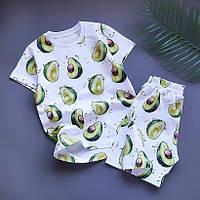 """Стрейч кулир принт  """"Авокадо на белом """" - 180см. (диджитал)., фото 1"""