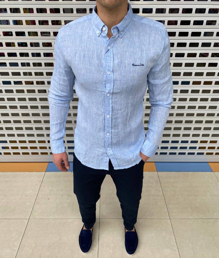 Мужская рубашка стильная, однотонная. Люкс ! Приятный к телу материал Материал: 100% лён. Размеры: М-3XL.