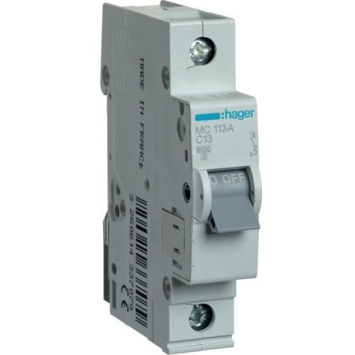 Автоматический выключатель Hager MC113A. Iн=13А, хар-ка С