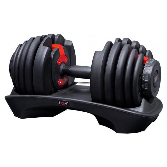 Гантель наборная регулируемая от 2,5 кг до 24 кг VNK 1 шт черная с красным